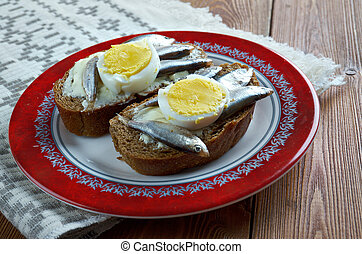 Estonian sandwich with anchovies - Kiluvoileib - Estonian...