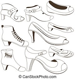 woman footwear outlined vector - Outlined black vector...