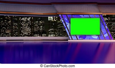 News TV Studio Set- - News TV Studio Set 167- Virtual Green...