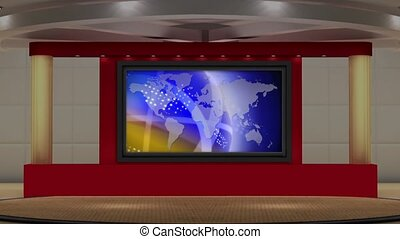 News TV Studio Set- - News TV Studio Set 166- Virtual Green...