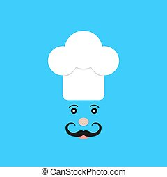 physiognomy of chef on blue background. concept of haute...