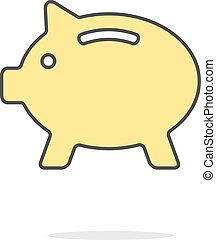 simple yellow piggy bank icon with shadow concept of...