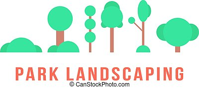 park landscaping with trees and bushes. concept of...