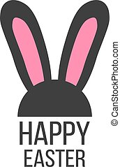 black and pink rabbit ears icon concept of festival,...