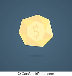 yellow polygonal coin with shadow concept of richness,...