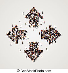 Large group of people in the arrows form.