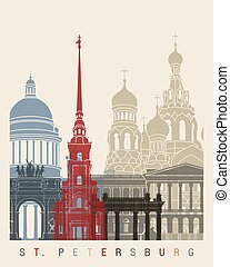 St Petersburg skyline poster in editable vector file