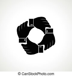 hand icon - Vector four hands icon