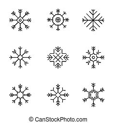 Snowflake icons set -variable line-