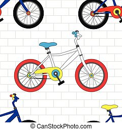 Colorful Bicycle on White Brick Wall Seamless Background