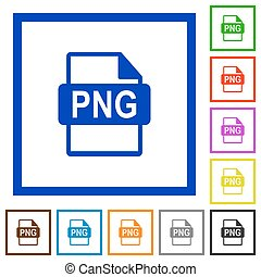 PNG file format framed flat icons - Set of color square...