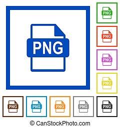 PNG file format framed flat icons - Set of color square...