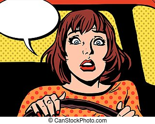 Retro girl scared the driver pop art retro vector. Newbie...