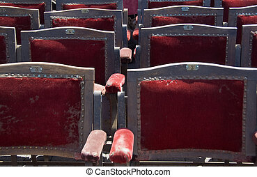 old theater seats for sale at a street fair in Strasbourg,...