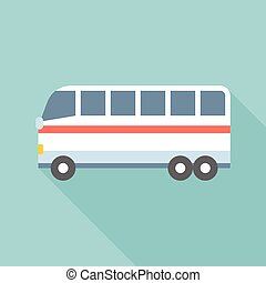 Bus vector, public transportation icon, flat design