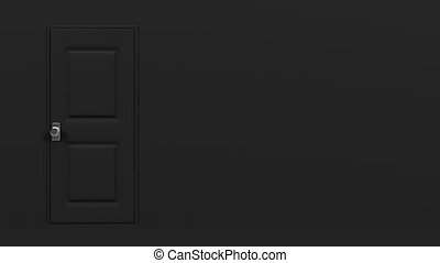 Black Door With Text Space And Wall. Abstract 3DCG render...
