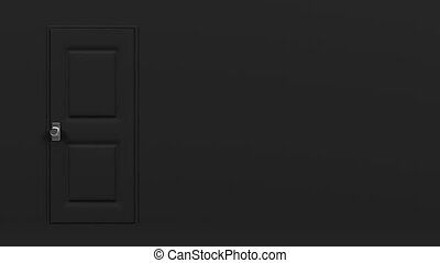 Black Door With Text Space And Dark Room Abstract 3DCG...