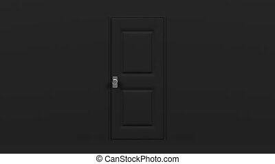 Black Door And Wall. Abstract 3DCG render Animation.