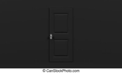 Black Door With Green Chroma Key. Abstract 3DCG render...