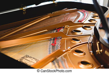 inside pianoforte mechanics - open piano mechanism with...