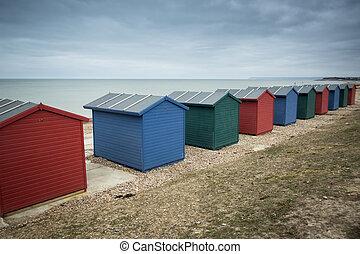 Beach huts at seaside