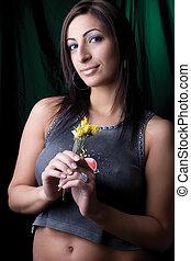 Fashion model - holding flower - Twenty something fashion...