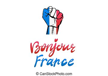 Low key picture of a fist painted in colors of france flag...