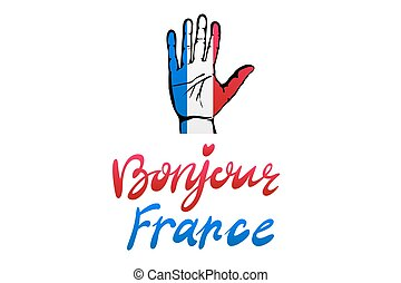 A set of hands with different gestures wrapped in the flag of France