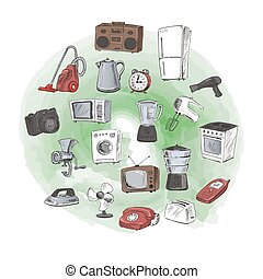 Houseware - Sketches of household appliances. Can be used as...
