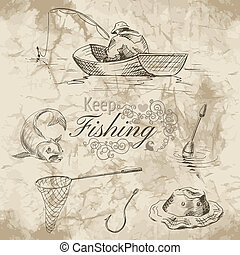 keep fishing sketch - Sketch of fishing A fisherman in a...