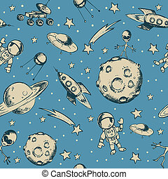Space objects and symbols seamless - Vector hand drawn...