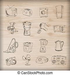 Hand drawn household appliances - Sketches of household...