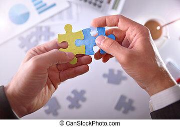 Businessman solving a problem success bussines concept -...