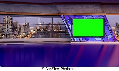 News TV Studio Set- - News TV Studio Set 168- Virtual Green...