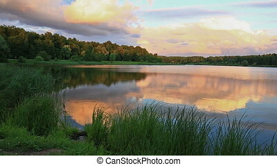 Big forest lake at sunset - big forest lake at sunset, in...