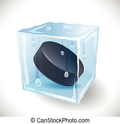 Ice cube with hockey puck.