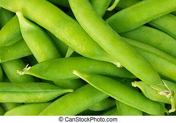 Fresh peas - Closup of home grown, fresh peas in their pods.