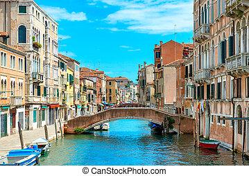 Bridge in Venice - Street bridge on the canal in Venice