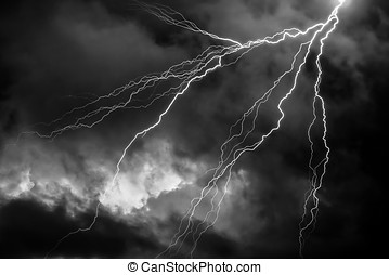 A dark cloudy sky with lightning - computer generated image
