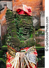 Balinese statue in the temple, Ubud, Bali - Holy balinese...