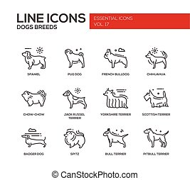 Dog breeds - line design icons set - Set of modern vector...