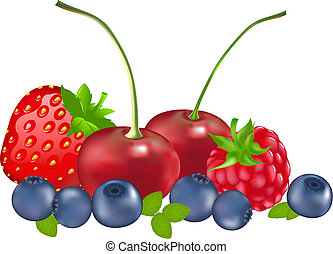 Set Of Berries Strawberry, Blueberry, Raspberry, Cherry,...