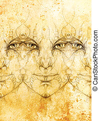 mystic man face with floral ornament Drawing on paper, Color...