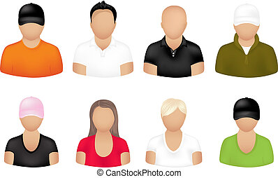 People Icons  - Set Of People Icons, Isolated On White