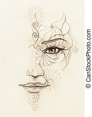 mystic woman face with floral ornament. Drawing on paper, Eye contact.