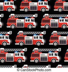 3D illustration of a Red Fire and Rescue truck seamless pattern