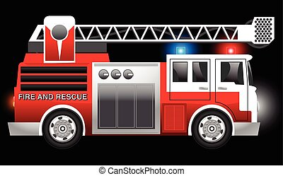 3D illustration of a Red Fire and Rescue truck with flashing lights