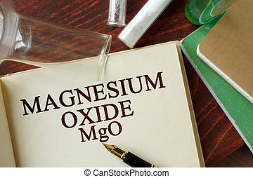 magnesium oxide - Word magnesium oxide written on a page....