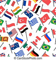 simple color curved flags of different country seamless...