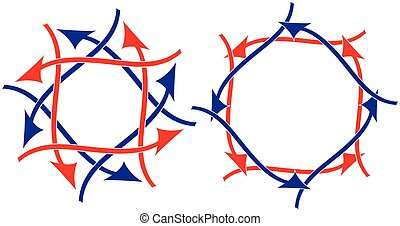 Red white and blue arrows vector